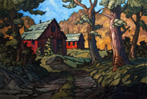 "SOLD ""Behind the Cabins,"" by Phil Buytendorp 24 x 36 – oil $2380 Unframed"