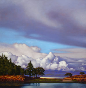 "SOLD ""Beneath a Breaking Sky,"" by Ray Ward 24 x 24 – oil $1995 Framed"