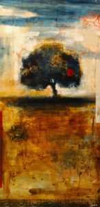 """SOLD """"Beneath the Tree,"""" by Heather Haynes 30 x 60 – acrylic $2600 (thick canvas wrap without frame)"""