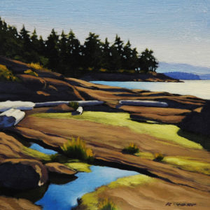 "SOLD ""Berry Point Beach,"" by Ray Ward 6 x 6 – oil $450 Framed"
