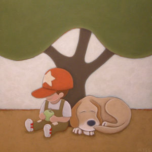 "SOLD ""Best Friends,"" by Peter Wyse 14 x 14 – acrylic $600 (unframed panel with 1 1/2"" wide edging)"