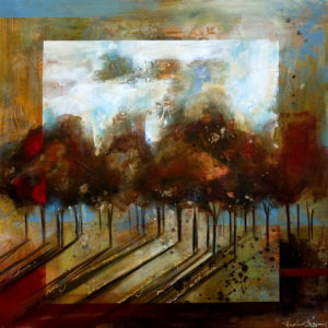 """SOLD """"Between the Shadows,"""" by Heather Haynes 30 x 30 – acrylic $1845 Unframed"""