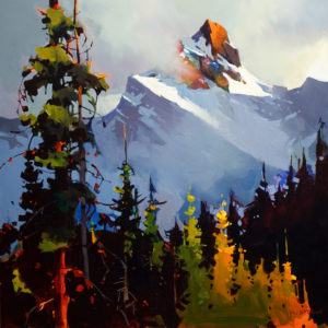 "SOLD ""Between Sky and Mountain, Yoho National Park,"" by Michael O'Toole 36 x 36 – acrylic $3980 Unframed"