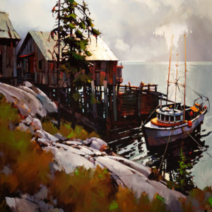 "SOLD ""Beyond Bella Bella,"" by Michael O'Toole 40 x 40 – acrylic $5350 Unframed"