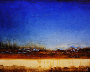 "SOLD ""Big Sky Dreaming,"" by Laura Harris 48 x 60 – acrylic $8250 (thick canvas wrap without frame)"