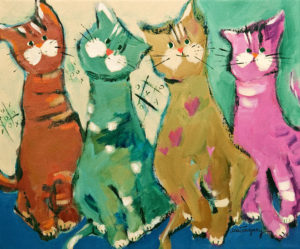 "SOLD ""Bill, Arthur, Brad and Léonie,"" by Claudette Castonguay 10 x 12 – acrylic $370 Unframed"