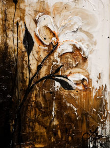 """SOLD """"Black and Linen,"""" by Laura Harris 9 x 12 – acrylic $1025 (thick canvas wrap without frame)"""