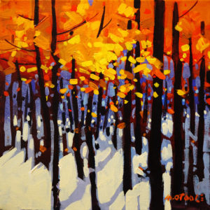 "SOLD ""Black Poplars in Autumn,"" by Michael O'Toole 12 x 12 – acrylic $815 Framed"
