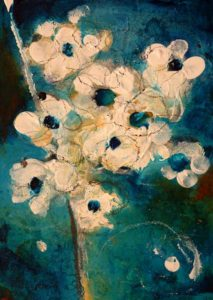 "SOLD ""Blossom #1,"" by Susan Flaig 5 x 7 – acrylic/mixed media $230 Unframed"