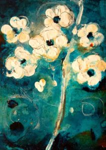 "SOLD ""Blossom #2,"" by Susan Flaig 5 x 7 – acrylic/mixed media $230 Unframed"