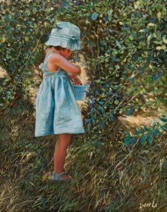 """SOLD """"Blueberries in the Shade,"""" by Don Li 11 x 14 – oil $1200 Unframed"""