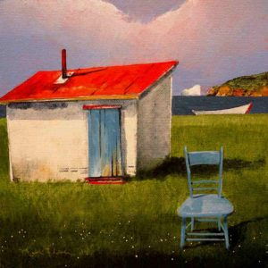 "SOLD ""Blue Chair,"" by Mark Fletcher 8 x 8 – acrylic $500 Unframed"