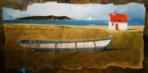"SOLD ""Boat Left on Land,"" by Mark Fletcher 18 x 36 – acrylic $2150 Unframed"