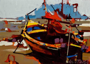 "SOLD ""The Boat on the Beach,"" by Michael O'Toole 5 x 7 – acrylic $500 Unframed $650 Custom framed"