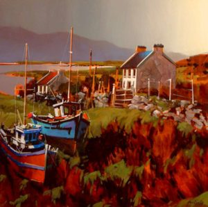 "SOLD ""Boats in Field, Achill Island,"" by Michael O'Toole 30 x 30 – acrylic $2390 Framed"