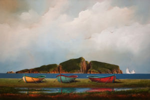 "SOLD ""Boats Pulled Up On Shore,"" by Mark Fletcher 24 x 36 – acrylic $2530 Unframed"