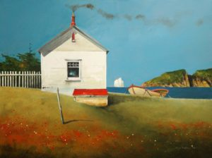 "SOLD ""Boat Up for Tea,"" by Mark Fletcher 18 x 24 – acrylic $2135 Framed"