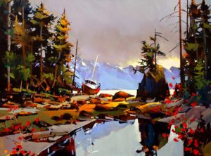 "SOLD ""The Bonilla Approach, Westcoast Trail,"" by Michael O'Toole 30 x 40 – acrylic $3330 Framed"