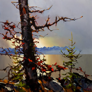 "SOLD ""Bony Arms of a Black Oak,"" by Michael O'Toole 30 x 30 – acrylic $2900 Unframed"