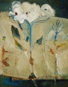 "SOLD ""Botanical,"" by Susan Flaig 11 x 14 – mixed media $425 (thick canvas wrap without frame)"