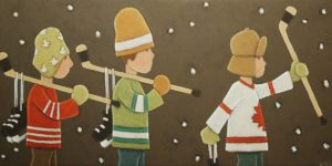 "SOLD ""The Boys,"" by Peter Wyse 12 x 24 – acrylic $900 (unframed panel with 1 1/2"" wide edging)"
