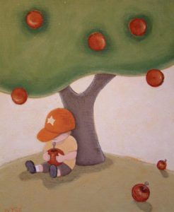 "SOLD ""Boy with Apple,"" by Peter Wyse 10 x 12 – acrylic $425 (unframed panel  with 1 1/2"" wide edging)"