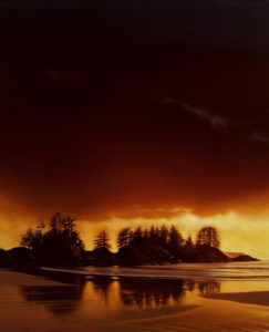 "SOLD ""Break at Dusk (Chesterman Beach),"" by Ray Ward 24 x 30 – oil $2275 Unframed"