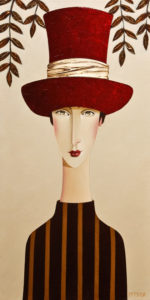 "SOLD ""Bridget and the Red Hat,"" by Danny McBride 12 x 24 – acrylic $1800 Unframed"