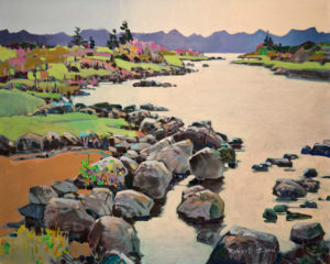 "SOLD ""Bright Estuary, Northern Inlet,"" by Robert Genn 24 x 30 – acrylic $12,000 Unframed"