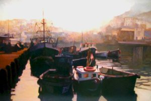 """Brixham Harbour,"" by Alan Wylie 32 x 48 - oil $15,700 Framed"