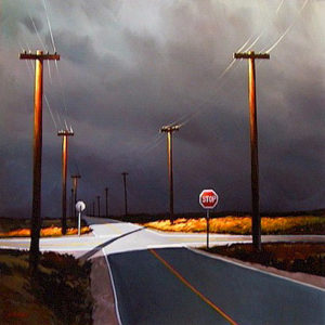 "SOLD ""Bruised Sky Junction,"" by Michael O'Toole 40 x 40 – acrylic $3750 Framed"