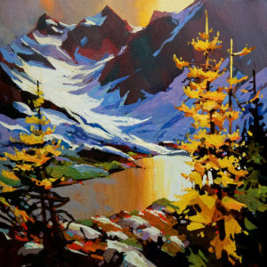 "SOLD ""The Bugaboos,"" by Michael O'Toole 16 x 16 - acrylic $1060 Unframed $1310 in show frame"