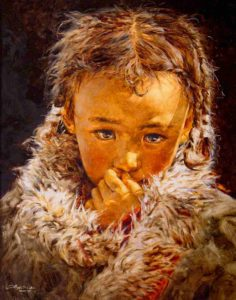 "SOLD ""Bundled in Fur,"" by Donna Zhang 24 x 30 – oil"