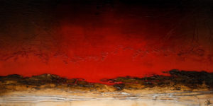 "SOLD ""Burning Skies Endure,"" by Laura Harris 30 x 60 – acrylic $5670 (thick canvas wrap without frame)"
