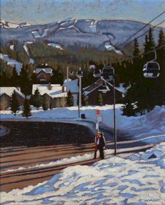 "SOLD ""Bus Stop, Whistler,"" by Ray Ward 8 x 10 – oil $615 Framed"
