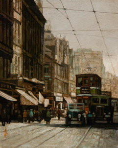 """SOLD """"Busy Thoroughfare,"""" by Alan Wylie 8 x 10 - oil $1270 Unframed $1450 in show frame"""