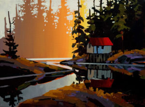 "SOLD ""Cabin at Canoe Lake,"" by Michael O'Toole 12 x 16 – acrylic $880 Unframed"
