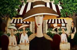 "SOLD ""Cafe Verona,"" by Danny McBride 24 x 36 – acrylic $3400 Unframed"