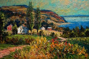 "SOLD ""Cap – aux – Oies,"" by Raynald Leclerc 24 x 36 – oil $2500 Unframed"