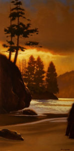 "SOLD ""A Cape Scott Moment,"" by Ray Ward 12 x 24 – oil $1365 Framed"