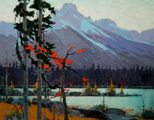 "SOLD ""The Cathedral From Lake O'Hara, September,"" by Robert Genn 24 x 30 – acrylic $8400 Unframed"