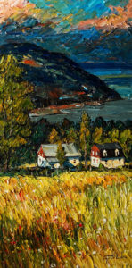 "SOLD ""Champs fleuri,"" by Raynald Leclerc (Field of Flowers) 18 x 36 – oil $2100 Unframed"