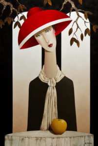 "SOLD ""Charlotte and the Apple,"" by Danny McBride 24 x 36 – acrylic $3400 Unframed"