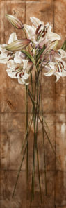 "SOLD ""Charm of Bloom,"" by Linda Thompson 12 x 36 - acrylic $1500 in show frame $1040 Unframed (thick canvas wrap)"