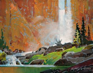 "SOLD ""Chatterbox Falls III,"" by Robert Genn 11 x 14 – acrylic $2800 Unframed"