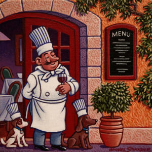 """SOLD """"The Chef's Dogs,"""" by Michael Stockdale 8 x 8 – acrylic $335 Unframed"""
