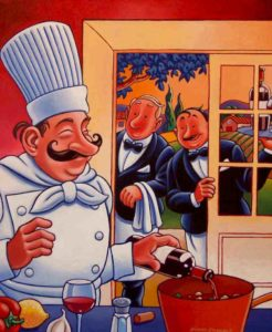 "SOLD ""Chef's Secret Ingredient,"" by Michael Stockdale 20 x 24 – acrylic $975 (thick canvas wrap without frame)"