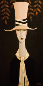 "SOLD ""Chelsea and the Top Hat,"" by Danny McBride 18 x 36 – acrylic $2800 Unframed"