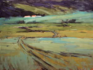 "SOLD ""Chemin du retour,"" by Robert P. Roy (The Road Home) 36 x 48 – oil $2800 (thick canvas wrap without frame)"