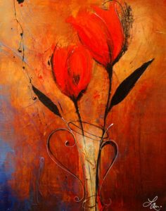 "SOLD ""Cherish,"" by Laura Harris 22 x 28 – acrylic/mixed media $1455 (thick canvas wrap without frame)"